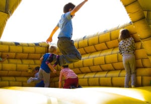 Children on bouncy castle