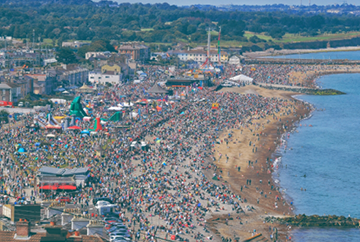 Packed beach front